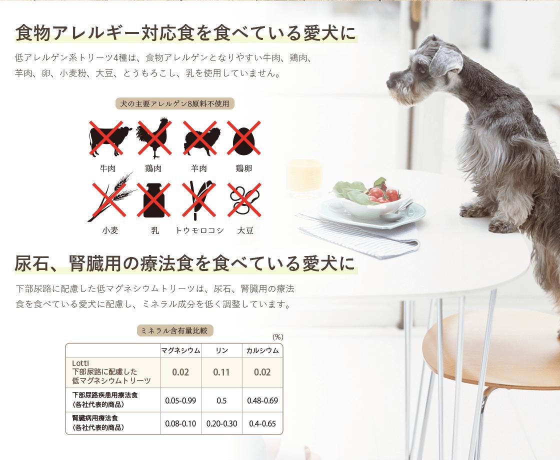 食物アレルギー対応食を食べている愛犬、尿石・腎臓用の療法食を食べている愛犬に