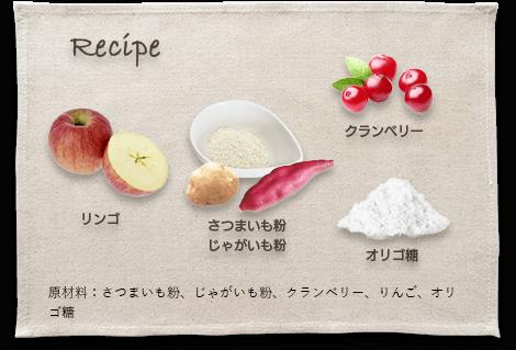 原材料:さつまいも粉、じゃがいも粉、クランベリー、りんご、オリゴ糖