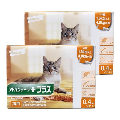 【2箱セット】アドバンテージプラス 猫用 0.4mL 1.6~4kg 3ピペット(動物用医薬品)