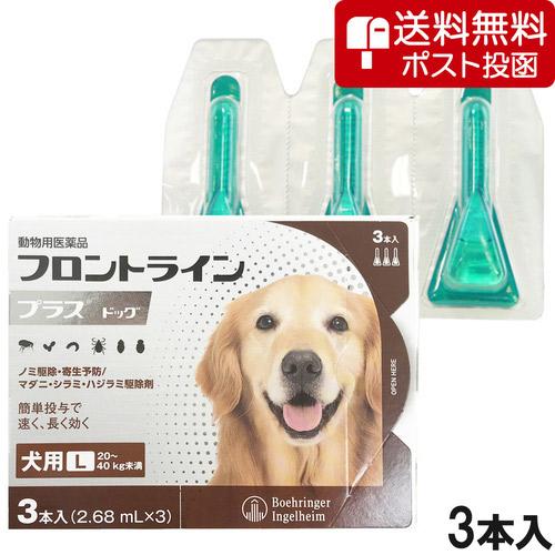 【ネコポス(同梱不可)】犬用フロントラインプラスドッグL 20kg~40kg 3本(3ピペット)(動物用医薬品)