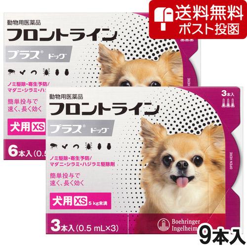 【ネコポス(同梱不可)】犬用フロントラインプラスドッグXS 5kg未満 9本(9ピペット)(動物用医薬品)