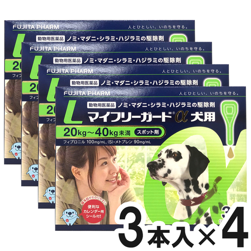 【4箱セット】マイフリーガードα 犬用 L 20~40kg 3本(動物用医薬品)
