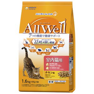 AllWell(オールウェル) 室内猫用 チキン味 挽き小魚とささみ フリーズドライパウダー入り 1.6kg