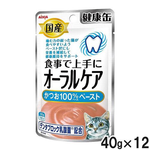 国産 健康缶パウチ オーラルケア かつおペースト 40g×12袋【まとめ買い】