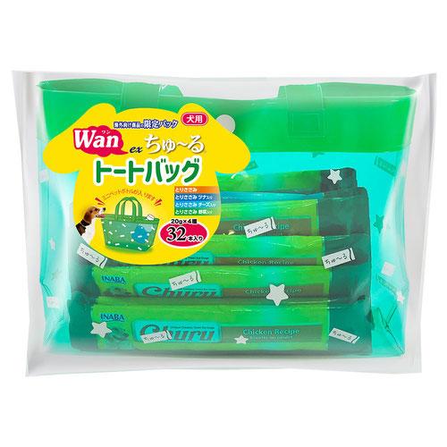 いなば 犬用 exちゅ~る バラエティ 32本入り(緑色トートバッグ付き)