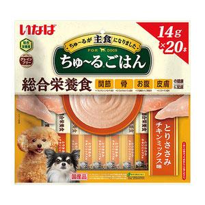 いなば 犬用 ちゅ~るごはん とりささみ チキンミックス味 14g×20本入り
