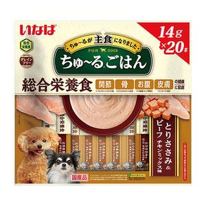 いなば 犬用 ちゅ~るごはん とりささみ&ビーフ チキンミックス味 14g×20本入り