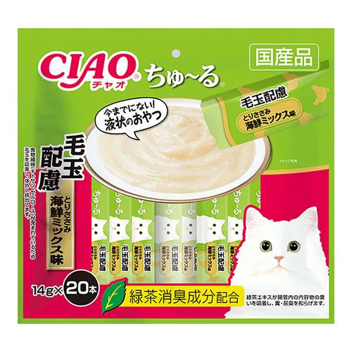 CIAO(チャオ) ちゅ~る 毛玉配慮 とりささみ海鮮ミックス味 20本入り