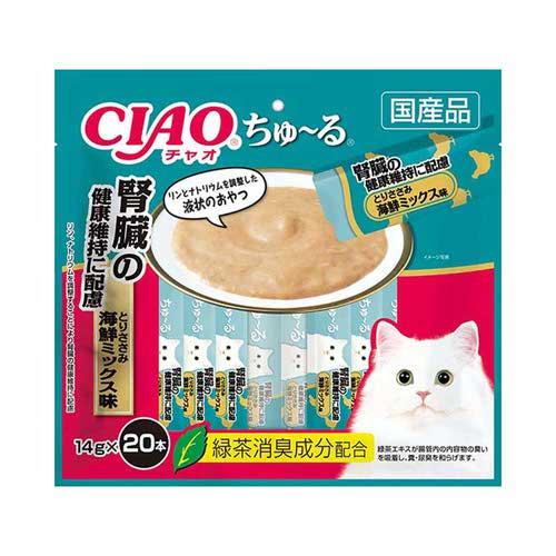 CIAO(チャオ) ちゅ~る 腎臓の健康維持に配慮 とりささみ海鮮ミックス味 20本入り