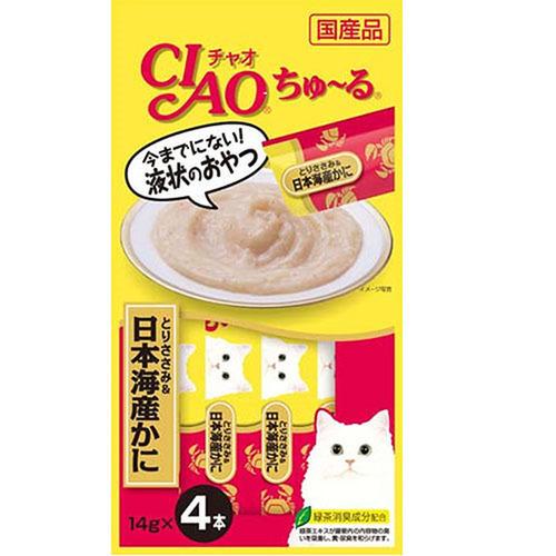 CIAO(チャオ) ちゅ~る とりささみ&日本海産かに 4本入り