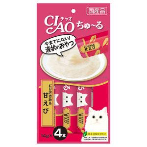 CIAO(チャオ) ちゅ~る とりささみ&甘えび 4本入り