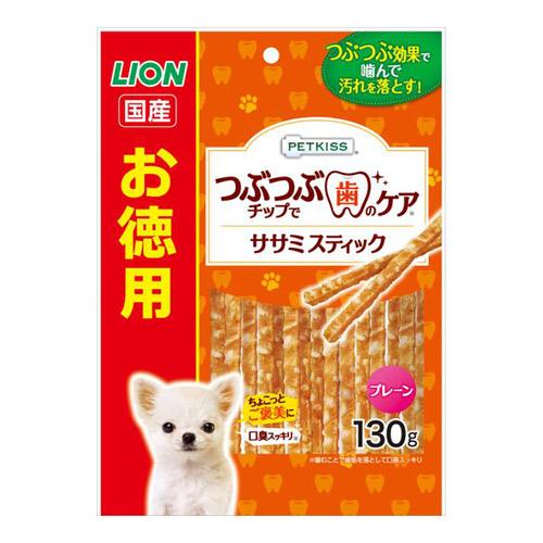 PETKISS(ペットキッス) つぶつぶチップで歯のケア ちぎれるササミスティック プレーン お徳用 130g