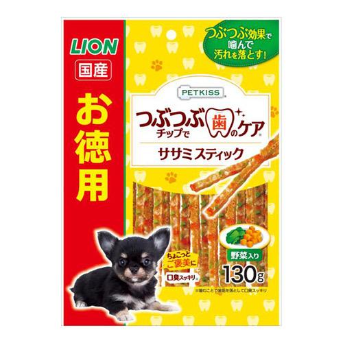 PETKISS(ペットキッス) つぶつぶチップで歯のケア ちぎれるササミスティック 野菜入り お徳用 130g