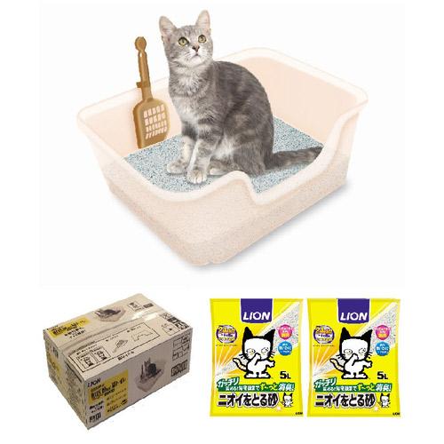 ライオン ニオイをとる砂専用 獣医師開発 猫トイレ スターターセット【企画品】