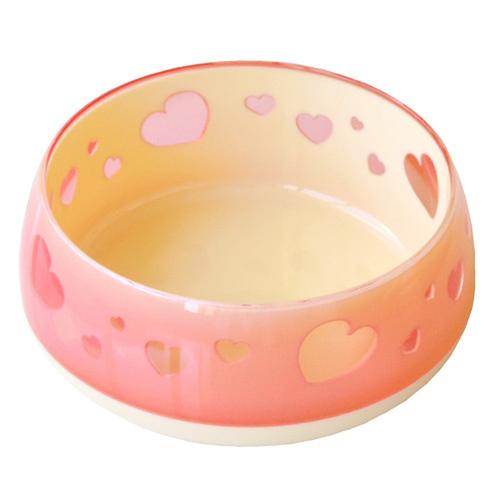 ペッツルート おいしく見えるワン食器 Mサイズ ピンクハート