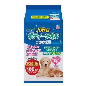 JOYPET(ジョイペット)ボディータオル ペット用 お徳用 つめかえ用 100枚